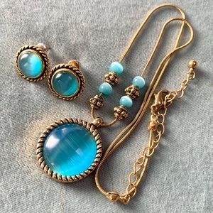 Jewelry - ❤️5 for$15 Blue Cat Eye/Gold Necklace Earrings Set